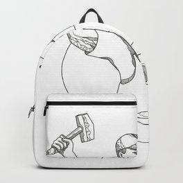 Farrier Wielding Hammer Oval Doodle Art Backpack
