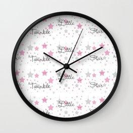 Twinkle Little Star Pink Baby Girl Nursery Wall Clock