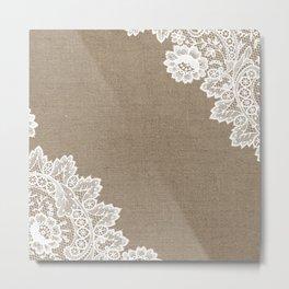 Lace Corners on Burlap Metal Print