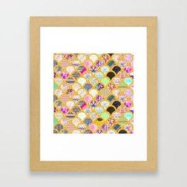 Modern Scallop Pattern Trendy Girly Gold Glitter Framed Art Print