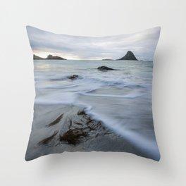 Bleik beach Throw Pillow