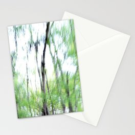 Abstract forest; intentionally blurred by camera shake Stationery Cards