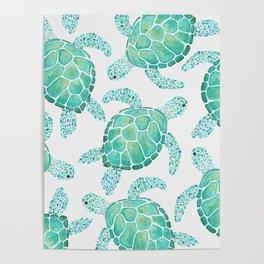 Sea Turtle Pattern - Blue Poster