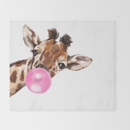 Bubble Gum Sneaky Giraffee Throw Blanket