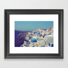 Blue Domes II, Oia, Santorini, Greece Framed Art Print