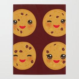 Kawaii Chocolate chip cookie Poster