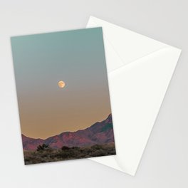Sunset Moon Ridge // Grainy Red Mountain Range Desert Landscape Photography Yellow Fullmoon Blue Sky Stationery Cards