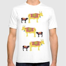 Streets of India- Cows Mens Fitted Tee MEDIUM White
