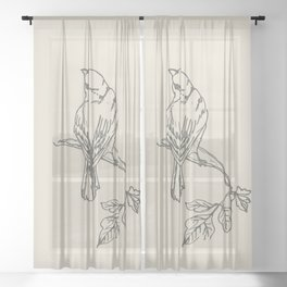 Drawing Bird or Birds Sheer Curtain