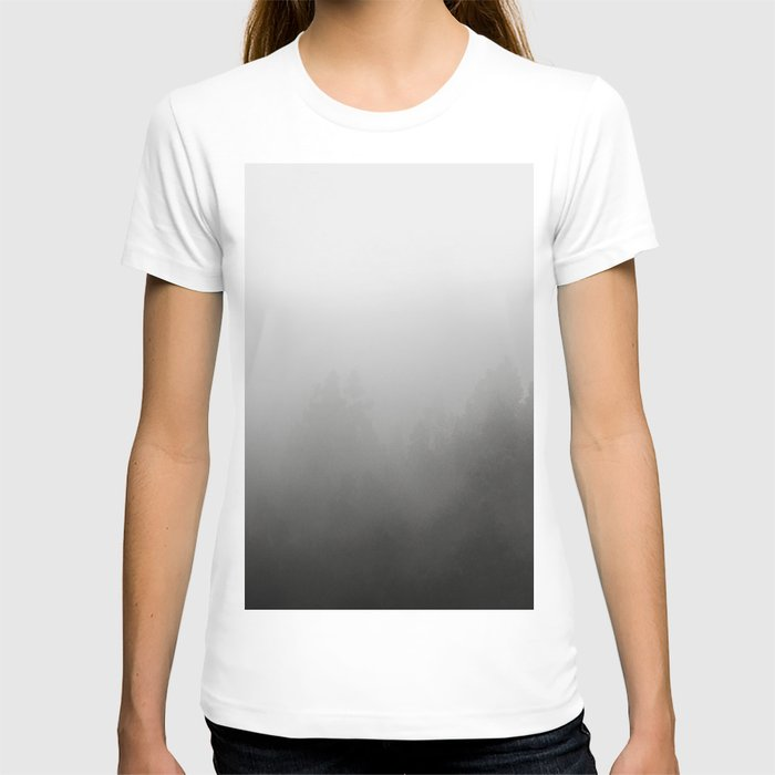 trees in fog - forest landscape - black and white T-shirt
