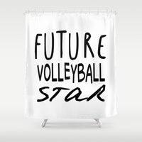 volleyball Shower Curtains featuring Future Volleyball Star by raineon