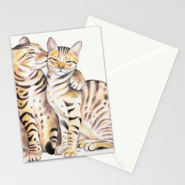 Bengal Cats Love Watercolor Ink Art Stationery Cards