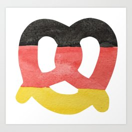 Pretzel in Hand-Painted Water Colors of German Flag Art Print