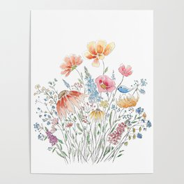 wild flower bouquet and blue bird- ink and watercolor 2 Poster