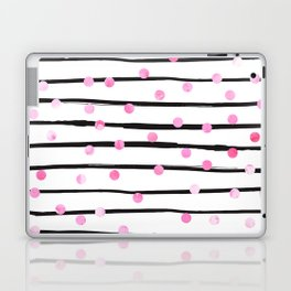Blush pink black watercolor modern stripes polka dots Laptop & iPad Skin