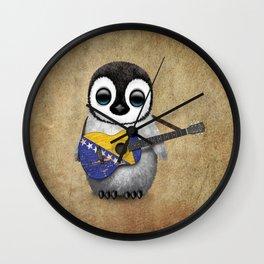 Baby Penguin Playing Bosnian Flag Acoustic Guitar Wall Clock