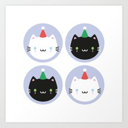 Cute Cats in Party Hats Art Print