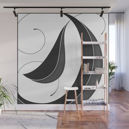 Letter D - Script Lettering Cropped Design Wall Mural