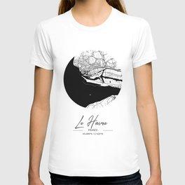 Le Havre Area City Map, Le Havre Circle City Maps Print, Le Havre Black Water City Maps T-shirt