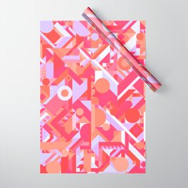 GEOMETRY SHAPES PATTERN PRINT (WARM RED LAVENDER COLOR SCHEME) Wrapping Paper