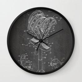 Climbing Anchor Patent - Rock Climber Art - Black Chalkboard Wall Clock