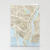 oakland Stationery Cards featuring Oakland California Watercolor Map by Anne E. McGraw