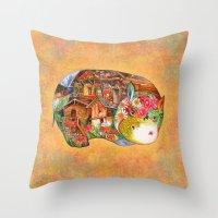 hippo Throw Pillows featuring hippo by oxana zaika