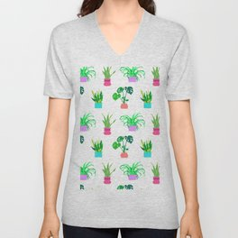 Simple Potted Plants in White Unisex V-Neck