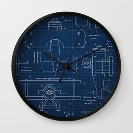 Toy Airplane Blueprint Wall Clock