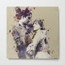 Vintage Lovely Couple Abstract Poker Papers Art Painting. Metal Print