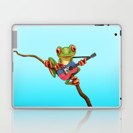 Tree Frog Playing Acoustic Guitar with Flag of Haiti Laptop & iPad Skin