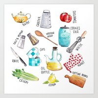 Kitchen set illustration Art Print