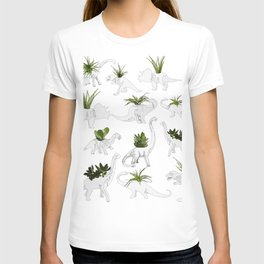 Dino and Cacti on White T-shirt