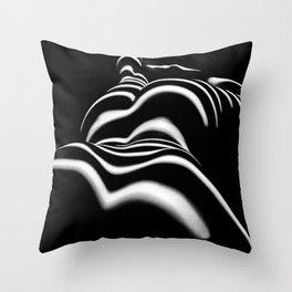 8903-SLG Sensual Nude Woman Back Shoulders Butt Erotic Curves Black & White Zebra Stripes Throw Pillow