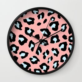 Leopard Print - Icy Peach Wall Clock