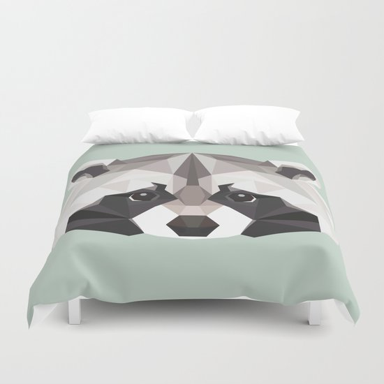 R is for Raccoon Duvet Cover