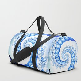 Chinese Sky Blue and Cloud White Tentacle Spiral Duffle Bag