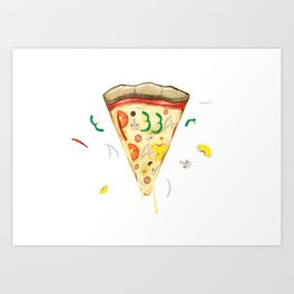 Pizza Day Slice with All the Toppings Art Print