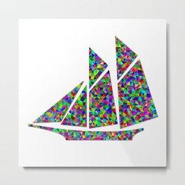 Colorful Cut Paper Mosaic Sailboat Metal Print