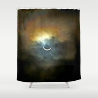vagina Shower Curtains featuring Solar Eclipse 2 by Aaron Carberry