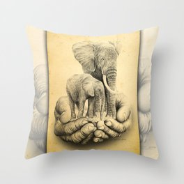 Refuge Elephants Drawing Throw Pillow
