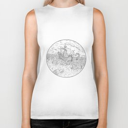Tall Ship Turbulent Sea Serpents Black and White Drawing Biker Tank