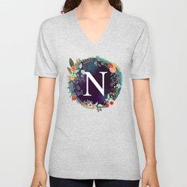 Personalized Monogram Initial Letter N Floral Wreath Artwork Unisex V-Neck