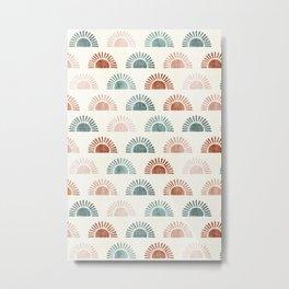 block print suns - terra cotta and jade Metal Print