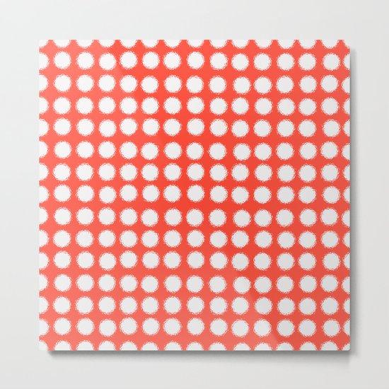 milk glass polka dots fiesta red Metal Print