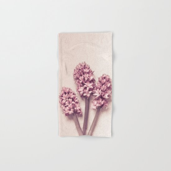 Three Pink Hyacinths Hand & Bath Towel