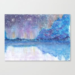Watercolor Blue Island Canvas Print