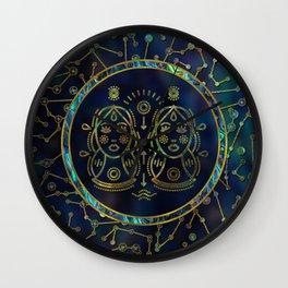 Gemini Zodiac Gold Abalone on Constellation Wall Clock