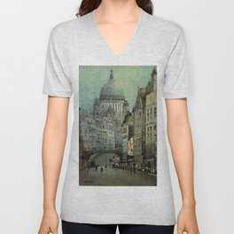 London's St Pauls and Ludgate Hill - Oil Painting, London, England Townscape by Godwin Bennett Unisex V-Neck
