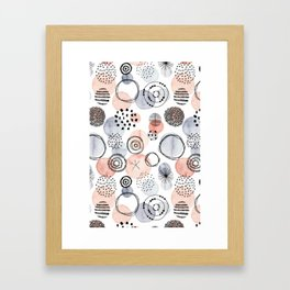 Watercolor Circles | Coral and Grey Palette Framed Art Print